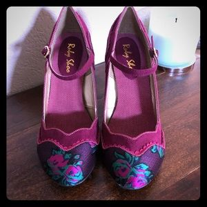 Like-New! Ruby Shoo Floral Ankle Strap Mary Janes